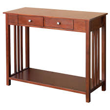 mission style console table hollydale chestnut mission style console table overstock com