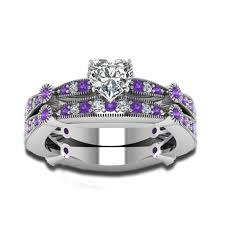 amethyst engagement ring sets cut cubic zirconia and amethyst stones 925 sterling silver