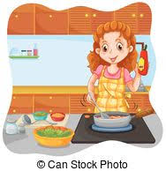 maman cuisine femme nourriture cuisine illustration préparer maman