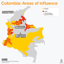 Columbia South America Map Colombia Farc And Eln Areas Of Influence Al Jazeera