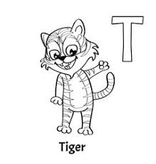 tiger alphabet letter t coloring page royalty free vector