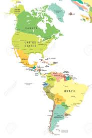 Map Of Brazil South America by North And South America Map Highly Detailed Vector Illustration