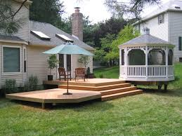 Patio Backyard Ideas by Inspiring Outdoor Deck Design With Nice Cozy Chair For Backyard