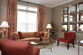 impressive red curtains in bedroom with additional living room