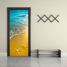compare prices on water wall decor online shopping buy low price pvc 2pcs removable water proof beach door sticker door paper for home decor wall decor