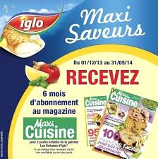 abonnement magazine de cuisine abonnement magazine maxi cuisine iglo abonnement maxi cuisine de 6