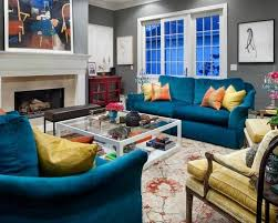 Blue Sofa Living Room Design by Peacock Blue Couches Houzz
