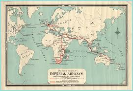 Baghdad World Map by Vintage Aviation World Map The Main Routes Of Imperial Airways