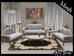 Victorian Sofa Set by Second Life Marketplace Silver Victorian Living Room Set