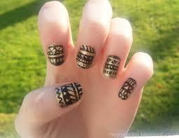 black and gold nail designs hey nice tips black u0026 gold aztec