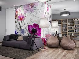 10 living room designs with unexpected wall murals decoholic living room with purple floral mural