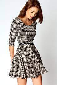 boohoo clothing boohoo zoe 3 4 sleeve dogtooth belted skater dress in multi ebay