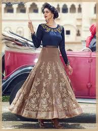 party wear gowns blue beige bhagalpuri embroidered digital printed designer gown
