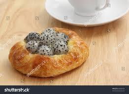 freshly bagel dragon fruit coffee cup stock photo 85886464