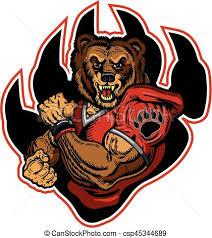 vector bears football muscular bears football player mascot