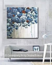Contemporary Art Home Decor Original Art Abstract Blue Flowers Painting Textured Red White