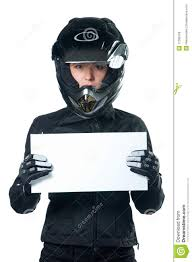 motorcycle clothing woman in motorcycle clothing holding a white board royalty free