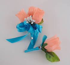 coral boutonniere 2 pc set pin corsage and boutonniere pink