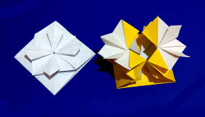 gift box with flower and secret message inside origami card