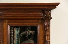 sold oak carved lion head 1890 antique austrian bookcase