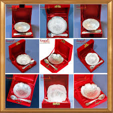 baby shower gifts for guests sea shell design silver plated brass bowl spoon set for indian