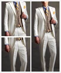 Country Style Wedding Tuxedos 2017 Tailor Made White Linen Groom Tuxedos Style Mens Wedding Prom