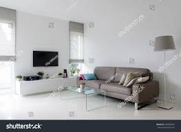 couch taupe white living room taupe leather sofa stock photo 246996334