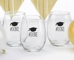 graduation wine glasses done graduation 15 oz stemless wine glass set of 4