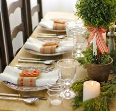 christmas table settings ideas for holiday with green plant
