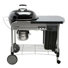 weber 22 in performer deluxe charcoal grill in black with built