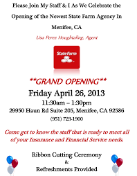 New Office Opening Invitation Card Menifee U0027s Newest State Farm Agency Grand Opening April 26