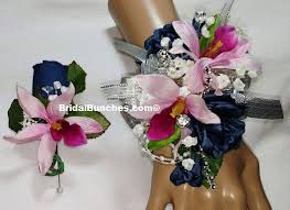 Corsage And Boutonniere Set Navy Blue Pink Fuchsia Rose U0026 Orchid Prom Or Wedding Flowers