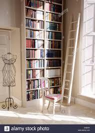 white ladder beside floor to ceiling bookshelves in hall with