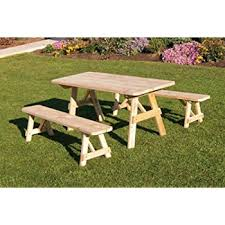 Wooden Picnic Tables With Separate Benches Amazon Com Outdoor 4 Foot Pine Picnic Table With 2 Benches