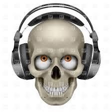 human skull with eye and music headphones vector image 7412