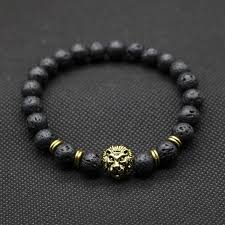 mens bracelet with stones images Wholesale antique gold plated buddha leo lion head bracelet black jpeg