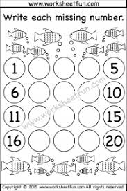 missing numbers u2013 1 20 u2013 2 worksheets missing numbers