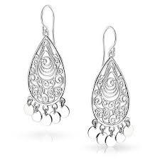 Black And Silver Chandelier Earrings Amazon Com Bling Jewelry Bohemian Filigree Chandelier Sterling