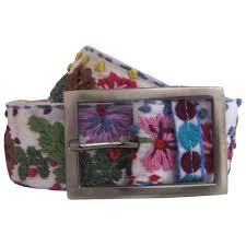 Flower Belts - white whimsically embroidered flower belt for women