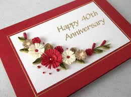 wedding anniversary cards quilled 40th ru wedding anniversary card handmade paper wedding
