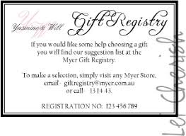 gift registry wedding bridal registry in wedding invitation the wedding specialiststhe