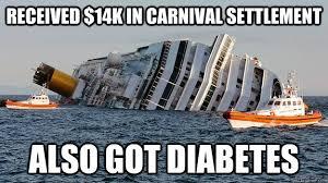 Carnival Cruise Meme - received 14k in carnival settlement also got diabetes italian
