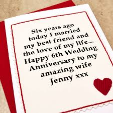 sixth wedding anniversary gift personalised 6th wedding anniversary card by arnott cards