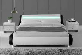 madrid led lights modern designer bed black white faux leather