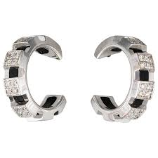 chaumet earrings chaumet diamond white gold hoop earrings for sale at 1stdibs