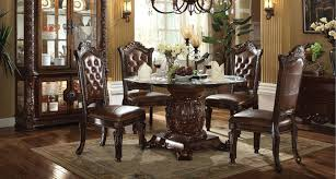 vendome 5 piece 54 inch glass top pedestal table dining set in