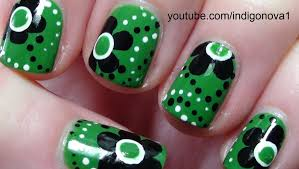 green and black flowers nail art tutorial youtube