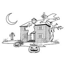 25 free printable haunted house coloring pages