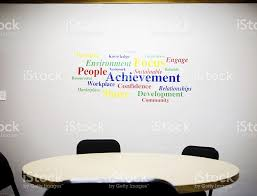 office wall art inspirational word wall art in office meeting room stock photo
