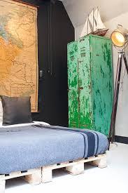 Headboards Made With Pallets Bedroom Design Unique Bedroom Design With Rustic Green Wardrobe